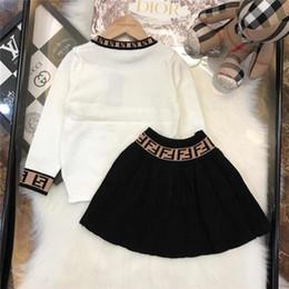 Crianças Garment Outono 2019 Novo Padrão Primavera Outono Catamite Motion Suit tricô pullover Plissado saia crianças Terno de duas peças ff-4 de