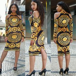 Gola alta de ombro on-line-Mulheres Luxo Floral Impresso Vestido Turtleneck Off Vestidos Trabalho Ombro Bodycon OL