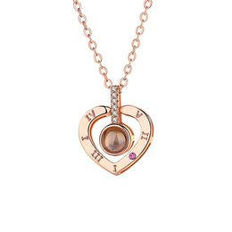 dr chain Promo Codes - Factory Price Women 100 Languages I Love You Projection Pendant Necklace Love Memory Wedding Necklace Rose Gold Silver Color DR