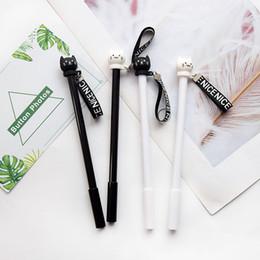 penna di anguria Sconti 1pcs Kawaii penna creativa del gel bianco sveglio rifornimenti della cancelleria modello del gatto di scuola ufficio Nero Nero inchiostro 0,5 millimetri penna ricarica