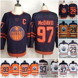 Camiseta de hockey azul naranja online-Edmonton Oilers Tercera camiseta 2019-2020 97 Connor McDavid 99 Wayne Gretzky 29 Leon Draisaitl 93 Jersey de hockey Ryan Nugent-Hopkins Azul Naranja