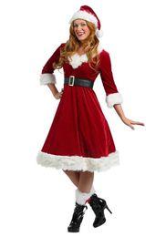 4шт/набор взрослых женщин рождественский костюм Делюкс бархат Рождество необычные платья сексуальная женщина костюм Санта-Клауса от