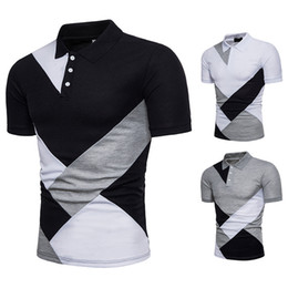 Géométrie t shirts en Ligne-Mens New Summer Shirts Casual Geometry Slim Fit Polos Mode shirts manches courtes Tops Homme