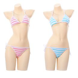 611658193a Japanese Blue Pink   White Stripe Sexy Cute Women s Lingerie 2PCS Set Bra    Panties Set Bikini Lolita Underwear Cosplay