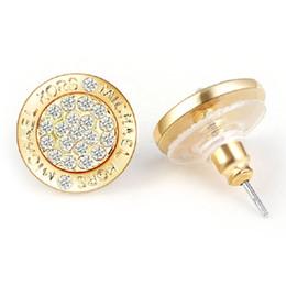Niedriger Preis-Großhandel Logo Pave Ton Ohrstecker Hohe Qualität Kristall Herz Ohrringe Modemarke Hochzeit Schmuck für Frauen Mädchen von Fabrikanten