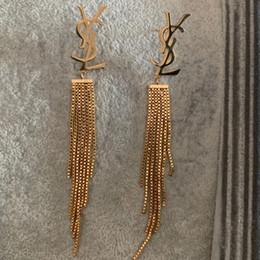 Placa longa on-line-Fábrica de atacado de Luxo Da Marca de Jóias de Aço Inoxidável de prata de Ouro rosa banhado a ouro longo borla Brincos Para Mulheres Dos Homens por atacado