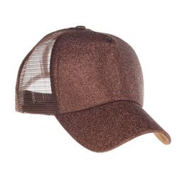 Brillo Adulto Sombrero de cola de caballo Al por mayor Espacios Sólidos Verano Lona Sombrero de béisbol Regalo Malla Cap 100 unids / lote DOM1061116 desde fabricantes