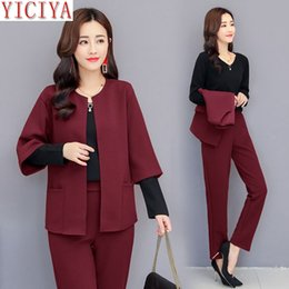 Oficina pantalones morados online-YICIYA púrpura conjunto de 2 piezas trajes Formal mujer 3 pieza trajes 2018 otoño invierno más tamaño 5XL pantalones de oficina trajes ropa superior