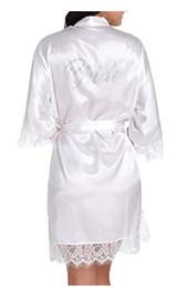 Canada Robes de demoiselle d'honneur de mariage en satin imitation soie, robe de mariée blanche, peignoirs kimono, graphique