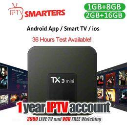 tv hd inteligente Rebajas 1 año de suscripción a IPTV Smart 4K Android TV Caja de IPTV Soporte Más de 30 países Canales en vivo de TV Europa Árabe Deportes EE. UU.