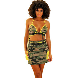 waisted skirts Promo Codes - New Summer Camouflage Beach 2 Piece Sets Women Halter Button Vest Bra and High Waisted Mini Skirt Set Beachwear Clubwear Outfits