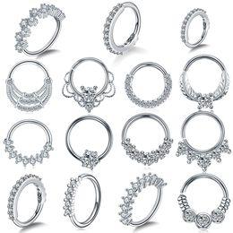 2019 серьга хряща уха 1PC Seamless Nose Hoop Round Zircon Gem Ear Helix Clicker Cartilage Earring Daith Snug Rook Tragus Rings Ear Piercings Jewelry скидка серьга хряща уха