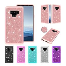 Caso de faísca para nota galaxy on-line-Nota 9 Caso Glitter Sparkle Bling Heavy Duty Híbrido de Alta Impacto Casos Capa Protetora Para Samsung Galaxy Note 9 2018 6.4 Polegada