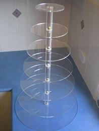 crianças parede luz lâmpada atacado Desconto Atacado Hot Free Shopping venda 7 Nível suporte Plexiglass Perspex Cupcake Torre acrílica redonda bolo