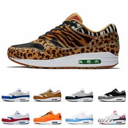 Animales amarillos online-Nike Air Max 1 x Atmos Zapatillas Atmos 1s 2019 Zapatillas deportivas Atmos 1s Animal Pack 3.0 Tinker Parra Bred What The Print Sports Designer Sneakers Talla 36-45