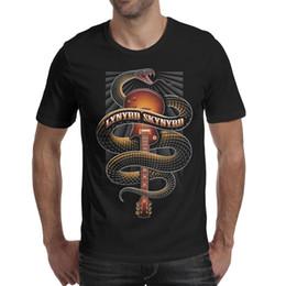fare chitarre Sconti Lynyrd Skynyrd chitarra serpente rock nero mens t shirt stampa divertente fare una maglietta personalizzata t shirt casual