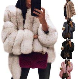 2019 kokon langarm lose Frauen plus Größe verdickten Faux-Pelz-normalen Mantel Normallack-lange Hülsen-geöffnetes vorderes Brot-Jacken-Mantel-elegantes Luxusloses