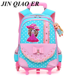 wheeled trolley backpacks Coupons - Children Cartoon Trolley School Bag Backpack Wheeled School Bag For Grils Kids 2 6 Wheels Schoolbag Student Backpacks Bags