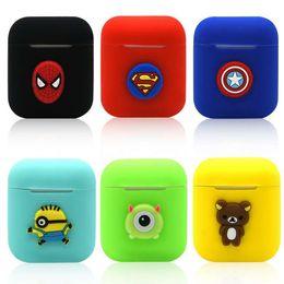 Araña de teléfono celular online-Funda de silicona de dibujos animados para Apple Airpods Marvel Avengers araña capitán del hierro fino suave protector para cubrir Aire Vainas caja del teléfono celular AirPod