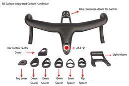 Ordinateur le plus récent en Ligne-Date 5D plein carbone intégré Drop Bar Route Vélo Guidon 28.6mm UD Weave Avec Vélo Ordinateur Mont livraison gratuite