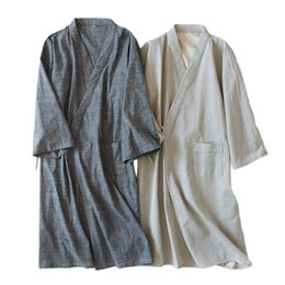 ce38662861 Pure color kimono robes men Spring 100% cotton simple male bathrobes long  sleeve SPA casual robes Japanese for male