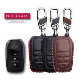 2019 chave cobre rav4 KUKAKEY remoto Smart Car Key Case Para CHR Prius Crown Camry Highlander RAV4 EZ Chaveiro de couro Titular da chave Capa Bag desconto chave cobre rav4