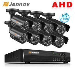 2019 vista remota dvr Jennov AHD Camera 8CH 5.0MP DVR Kit CCTV Set Telecamera di sicurezza Sistema di videosorveglianza P2P Visualizzazione remota Impermeabile IR-C sconti vista remota dvr