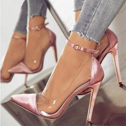 zapatos de tacón de tacón alto Rebajas 2019 Bomba de jalea de las mujeres Claro Chaussure novia Sexy Zapatos Mujer delgada tacones altos de los zapatos de boda hebilla del tobillo de las señoras de la mujer Sapato