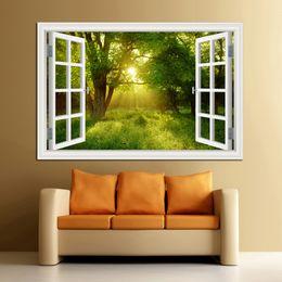 Adesivi murali 3d paesaggio online-3D Window View Forest Landscape in Four Seasons 3D Wall Sticker Verde Golden Tree Wallpaper rimovibile Home Decal Home Decor