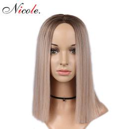 medio parte bob peinados Rebajas Pelucas Bob sintéticas suaves Color rubio Pelucas de 14 pulgadas para mujeres Parte media Entradas naturales Fibra resistente al calor Bob Pelucas Peinado de moda