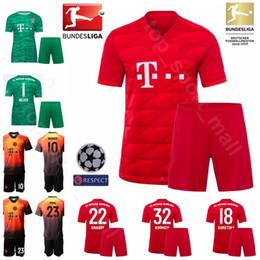 2019 camiseta de fútbol naranja 19-20 Hombres Fútbol 22 Serge Gnabry Jersey Set Bayern Munich Rojo Naranja 18 Leon Goretzka 10 James Rodriguez Camiseta de fútbol Kits de uniforme camiseta de fútbol naranja baratos