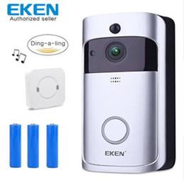 Tempo de wifi on-line-Eken campainha de vídeo inteligente 3 em tempo real câmera de 720 P HD de Vídeo Wi-fi de Duas Vias de Áudio Night Vision App Controle V2 Wi-Fi Habilitado Campainha