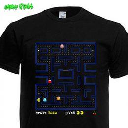 1d3eb35800ae shipping pac Скидка PAC MAN - ретро классическая игра футболка - в schwarz  смешные бесплатная доставка