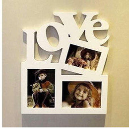 Almacenamiento de escritorio diy online-Diy marco de fotos de madera hueca carta de amor foto de la familia foto titular de almacenamiento decoración del hogar decoración de la pared regalo de los niños para la memoria