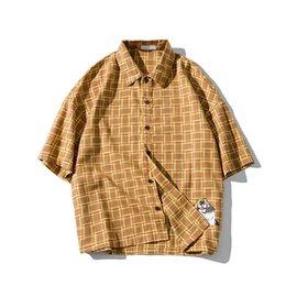 2019 chemises à manches courtes garçon Demi-chemise à manches Hommes Hip Hop Japonaise Streetwear Casual Chemise À Carreaux Homme Mode D'été 2019 Harajuku Hawaiian Chemises Pour Garçon promotion chemises à manches courtes garçon