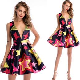 vestido novo vestido vermelho Desconto Vestidos elegantes para as mulheres Preto vermelho amarelo estrela impressão profunda v pescoço sexy uma linha de mini novo visual formal festa de balanço do balanço das mulheres vestido