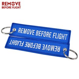 Remove Before Flight Key Chain Jewelry Embroidery Air Traffic Controller Key Ring Chain For Fashion Keychains For Aviation Lover High Quality Buckles & Hooks