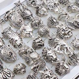 anillos de dedo personalizados Rebajas Anillo gótico punky de los hombres del dragón retro de la serpiente Tigre Lobo búho pavo real de leopardo joyería estilo de la mezcla anillo animal unisex