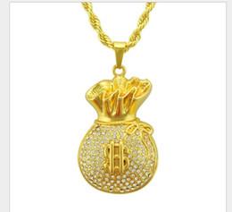 2019 подвесной кошелек Новый мужской хип-хоп трехмерный доллар кошелек с бриллиантом кулон ожерелье мода кулон дешево подвесной кошелек