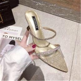 2019 giubbotto pvc 2019 scarpe eleganti scintillanti strass trasparenti vamp vest donne pantofole stiletto super tacchi alti 9cm sapato femminino sconti giubbotto pvc