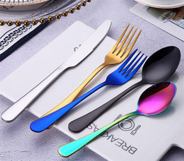 fork knife spoon high quality Coupons - New Stainless Steel 5pcs set Kitchen Food Tableware Rainbow Purple High Quality Knife Fork Spoon Dinnerware Cutlery Flatware Set