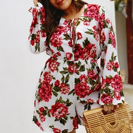 01c6041a24b WHZHM Lace Up Flower Bodycon Bodysuit Female Rompers Women Playsuits Full  Sleeve Floral Printed Plus Size 3XL 4XL Bodysuits plus size bodysuits  rompers ...
