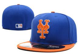 2019 cappelli da uomo a basso costo Mets da uomo sul campo Blue Top Orange Brim Fitted Baseball Hats Squadra sportiva Lettera ny Flat Full Closed Caps Bones Cheap Men's Women cappelli da uomo a basso costo economici