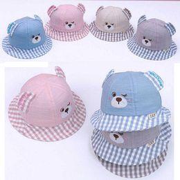 f88eb38a849 Baby Hat Girls Boys Bucket Hat Kids Outdoor Fisherman Cap Cotton Cute  Cartoon Bear Beach Cap Spring Sumeer Sun Protective Ear Cap MZ7272