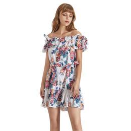 il merletto sexy ha tagliato i vestiti Sconti Stampa Summer Mini Dress For Women Slash Neck Off spalla manica corta vita alta Lace Up Abiti moda femminile