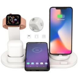 2019 cargador lipo b6 Teléfono Reloj inteligente Cargador inalámbrico para Airpods Cargador Micor USB Tipo-C Base de carga Protección de corriente Soporte de cargador inalámbrico 3 en 1