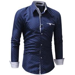 мужская тонкая удобная точечная рубашка Скидка 3XL мужская осенняя повседневная формальная горошек Slim Fit с длинным рукавом классической рубашки мужской звезды печати модис мужские рубашки белый синий топ