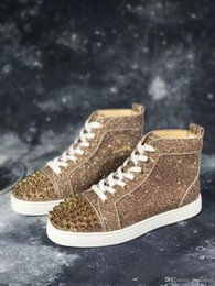 2019 alta moda sneakers glitter oro Picchi d'oro + Glitter Sneakers Scarpe Designer di lusso Bottom rosso High Top Uomo Marca Fashion Comodo casual Walking Red Dust Bag alta moda sneakers glitter oro economici