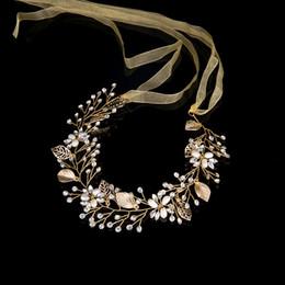 Cabeza izquierda online-Hojas Boda Accesorios para el cabello Pelo nupcial Vid Boda Diadema tiaras y coronas de cristal Pieza principal decoración del cabello