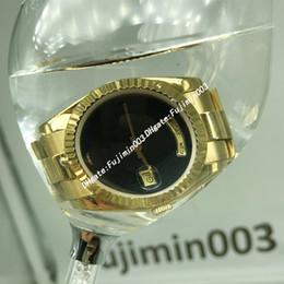 2019 18 relógios de ouro 50 metros à prova d 'água homens relógio automático 36 MM DAY DATA Black face Mecânica relógios dos homens de Safira 18 K Ouro aço Inoxidável desconto 18 relógios de ouro